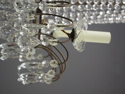 Antique 1930s Tent and Bag Cut Crystal Chandelier