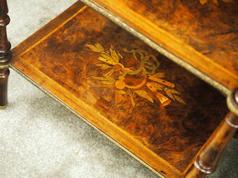Antique Pair of Victorian Marquetry Burr Walnut Etageres