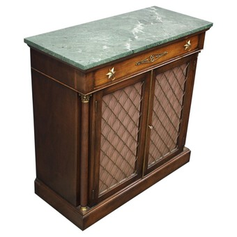 Regency Style Marble Top Side Cabinet