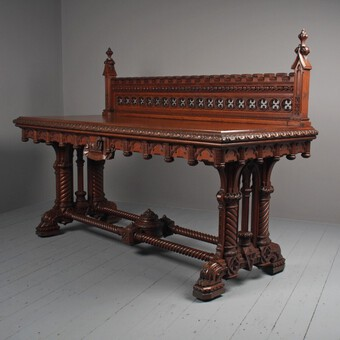 Carved Oak Serving Table Attributed to Pugin