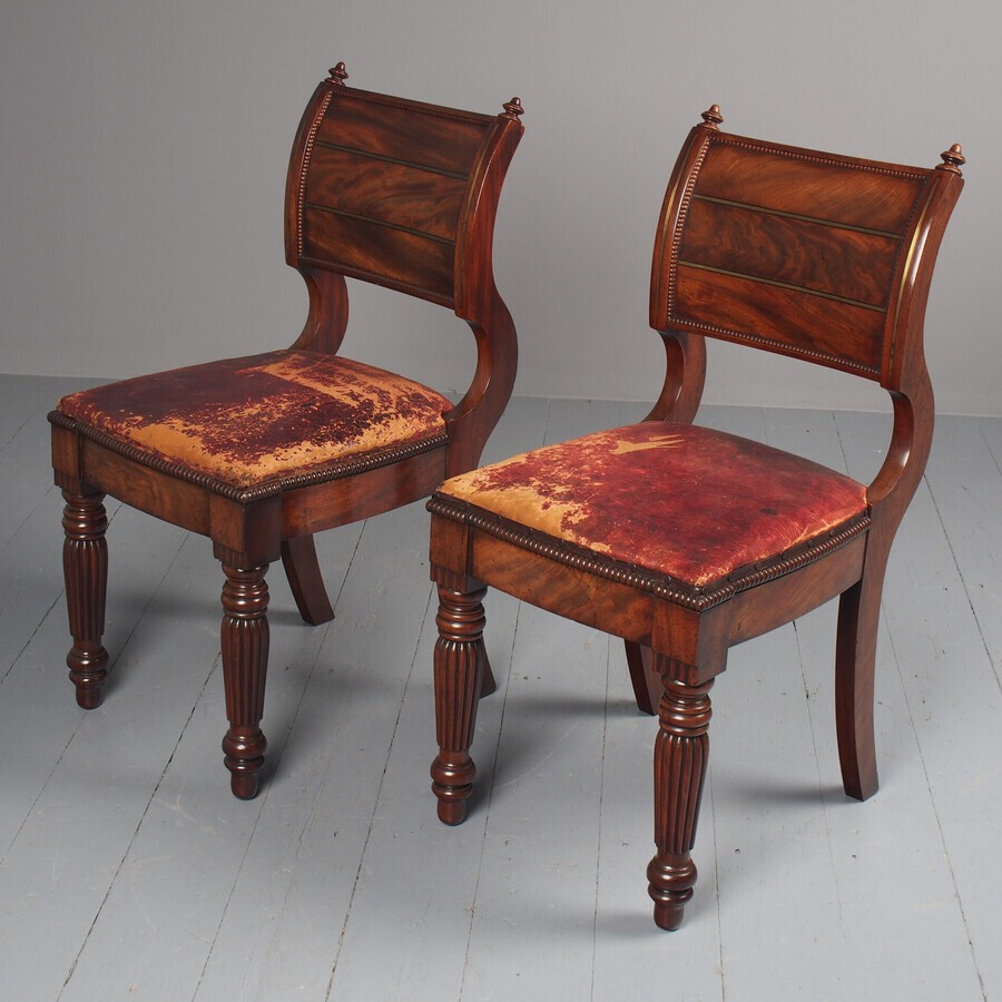 Rare Pair of Brass Inlaid Mahogany and Leather Library Chairs