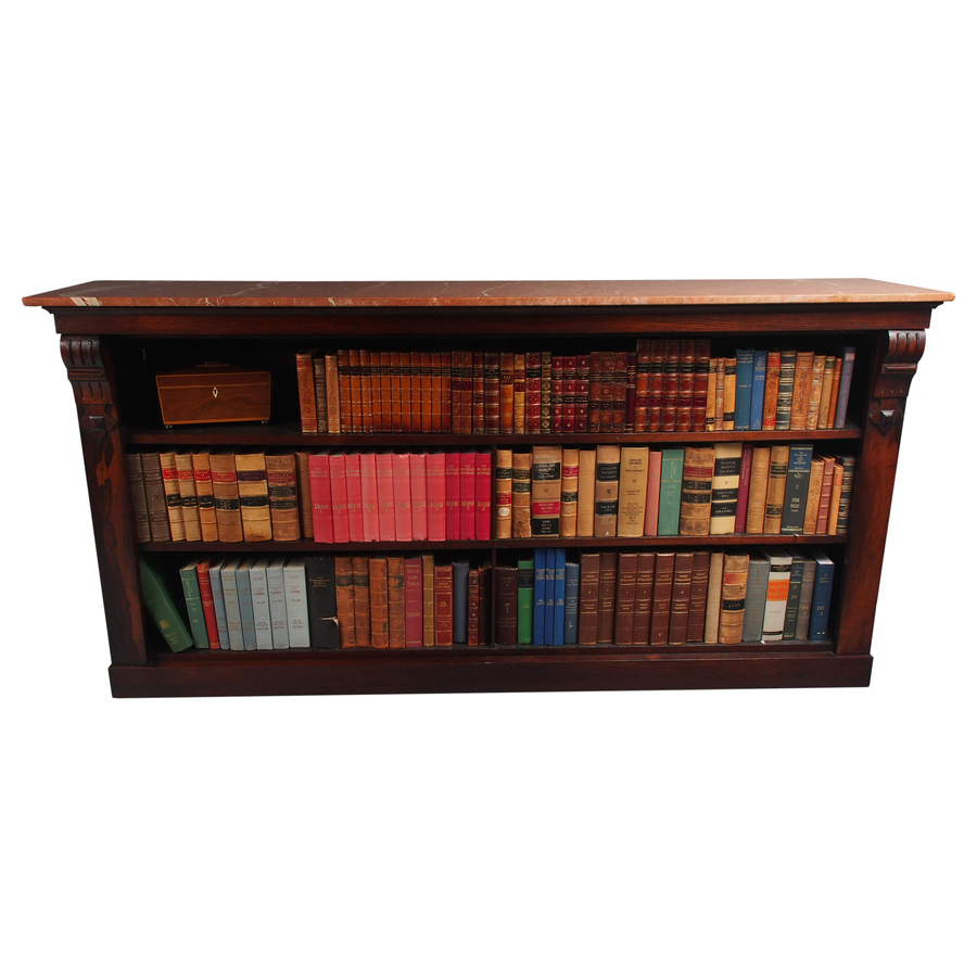 William IV Rosewood and Pink Marble Top Open Bookcase