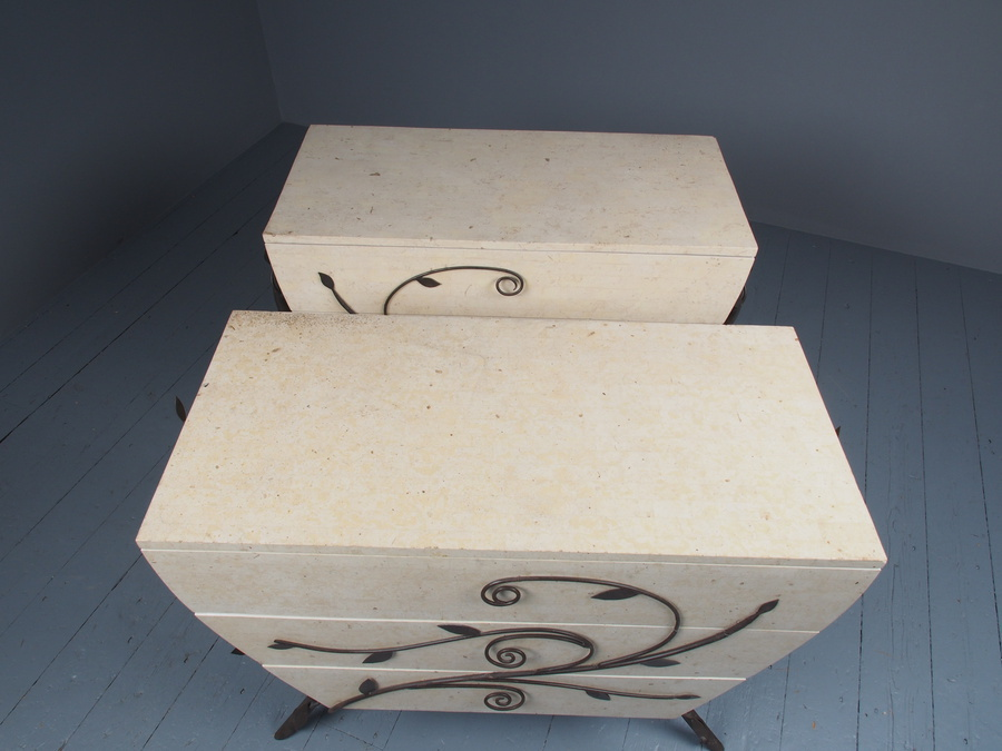 Antique Pair of Fossilized Stone Chests of Drawers