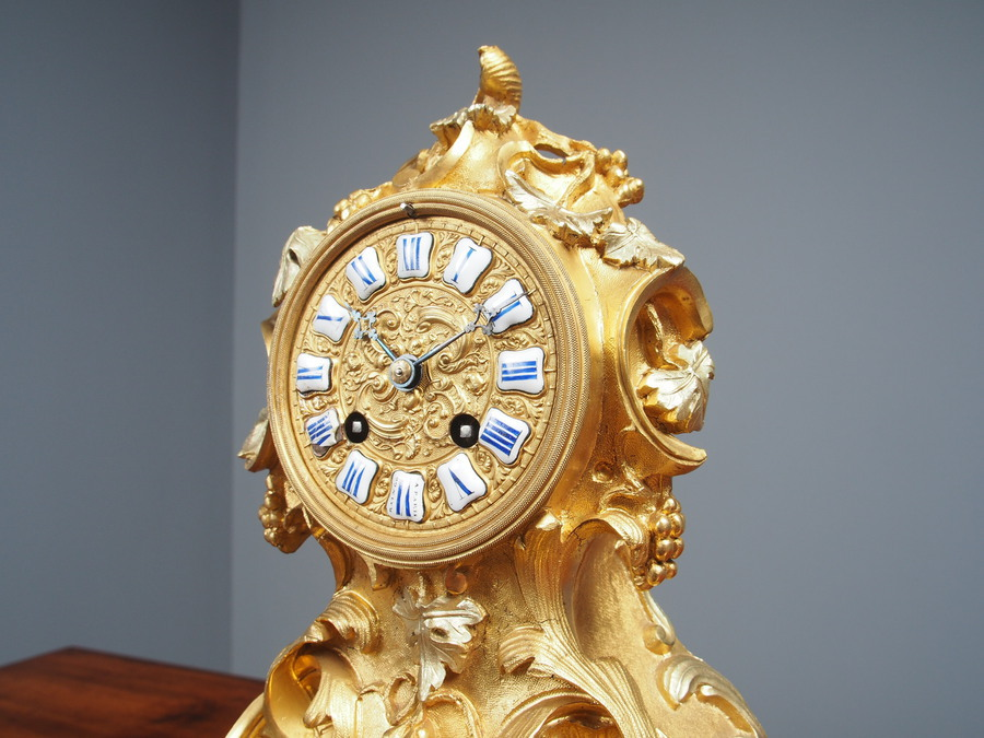 Antique Antique Ormolu Mantel Clock by Raingo, Paris