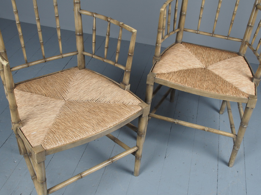 Antique Pair of Bamboo Design Painted Armchairs