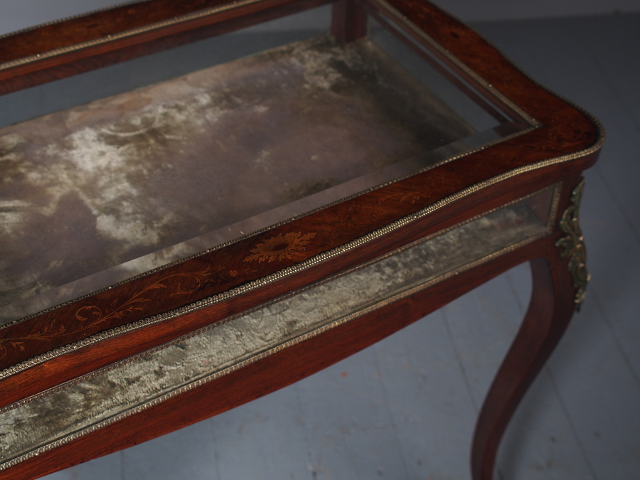 Antique Large Antique Inlaid Rosewood Bijouterie Table