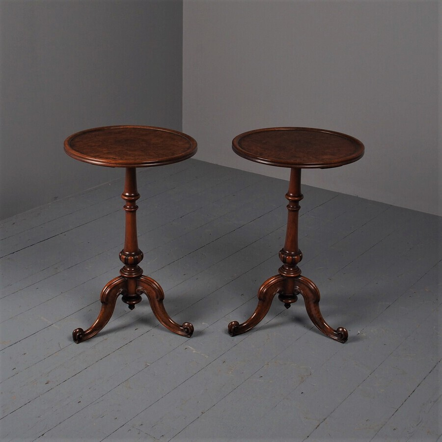 Antique Antique Pair of Burr Walnut Occasional Tables