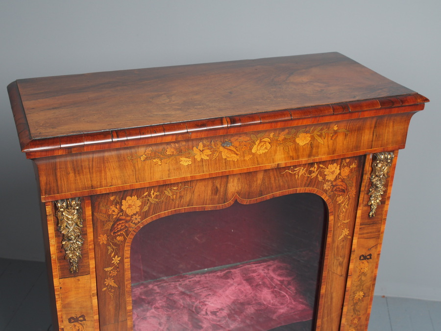 Antique Antique Marquetry Inlaid Walnut Pier Cabinet