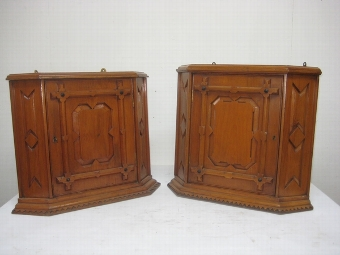 Antique Pair of Pitch Pine Corner Cabinets