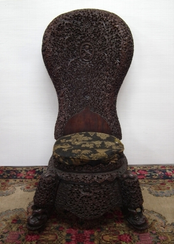 Antique Burmese Carved Side Chair