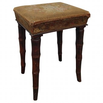 Antique Regency Faux Bamboo Stool
