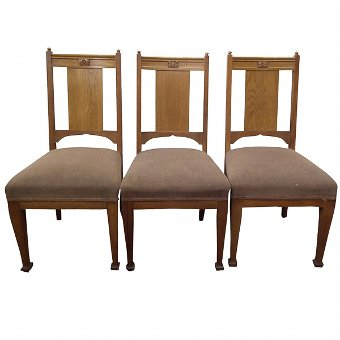 Antique Set of 3 Scott Morton of Edinburgh Oak Chairs