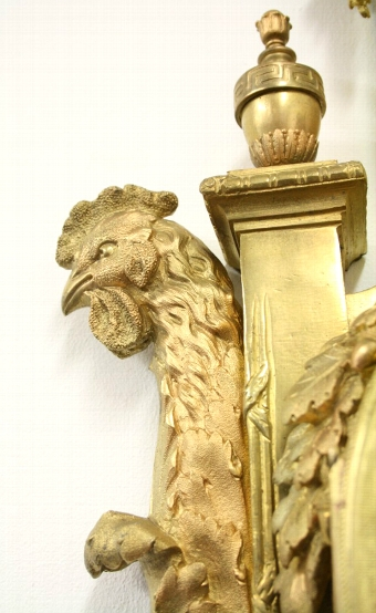 Antique French Cast Brass Wall Clock