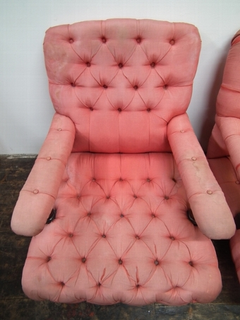 Antique Pair of Deep Buttoned Easy Chairs