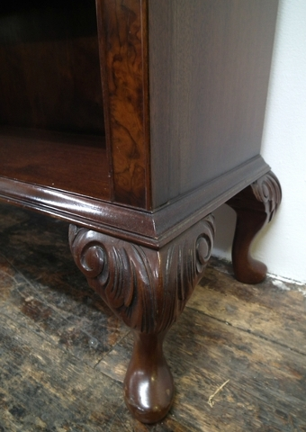 Antique Burr Walnut Open Bookcase