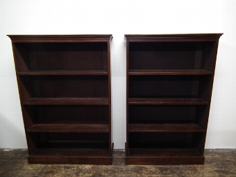 Antique Matched Pair of Open Bookcases