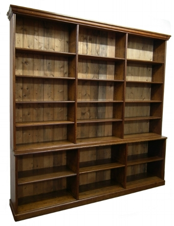 Antique Large Victorian Oak Open Bookcase