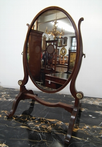 Antique Georgian Style Oval Dressing Mirror