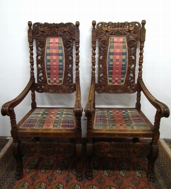 Antique Pair of Hand Carved Oak Armchairs