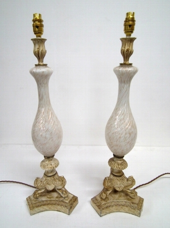 Antique Pair of Venetian Style Lamps