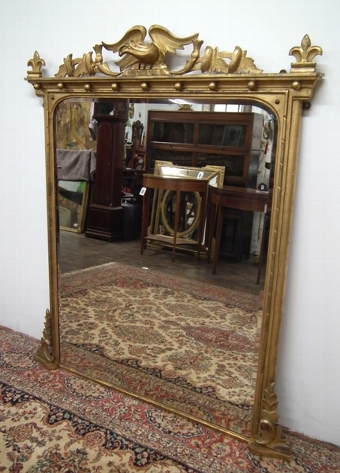 Antique William IV Carved Giltwood Overmantel Mirror