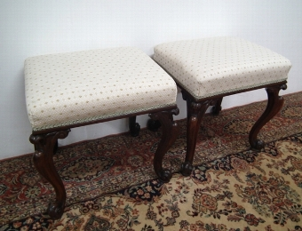 Antique Pair of Early Victorian Rosewood Stools