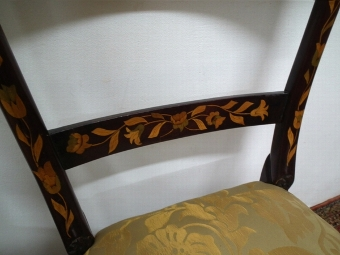 Antique Pair of Dutch Marquetry Side Chairs