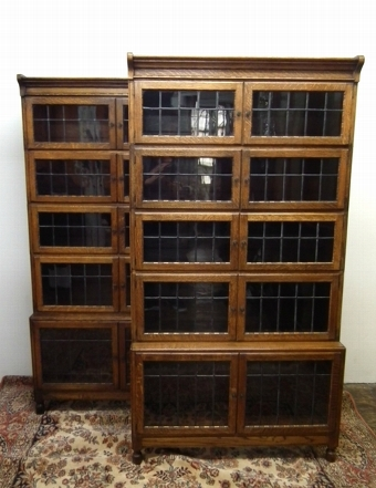 Antique Rare Pair of Oak Sectional Bookcases