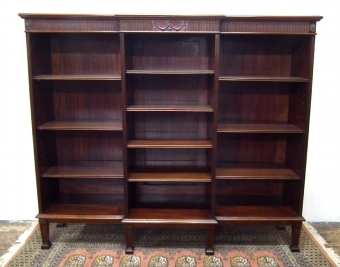 Antique Adams Style Carved Mahogany Open Bookcase