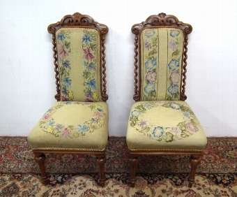 Antique Pair of Victorian Walnut Children's Chairs