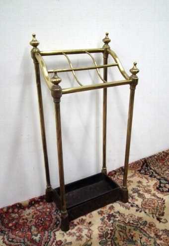 Antique Victorian Brass and Cast Iron Stick Stand