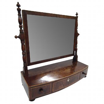 Antique George IV Mahogany and Inlaid Toilet Mirror