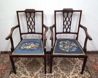 Antique Pair of Sheraton Style Armchairs
