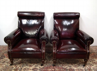 Antique Pair of John Taylor & Sons Leather Library Chairs
