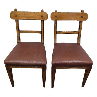 Antique Pair of Oak Gothic Revival Chairs