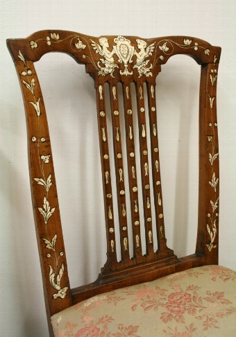Antique Two Ivory Inlaid Italian Chairs