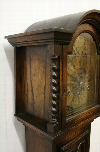 Antique Jacobean Style Oak Grandmother Clock