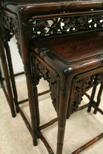 Antique Nest of 3 Carved Occasional Tables