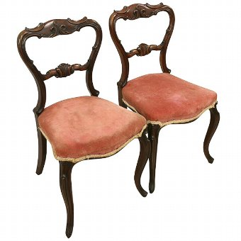 Antique Pair of Victorian Walnut Side Chairs