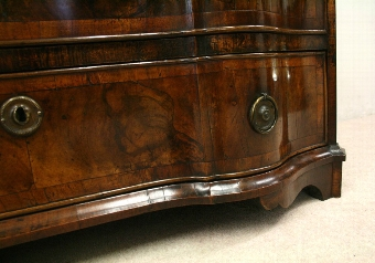 Antique Northern European Serpentine Walnut Bureau