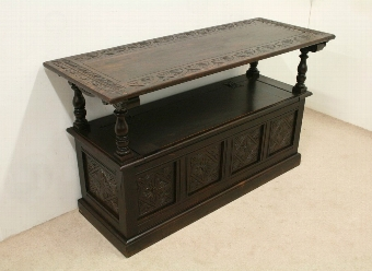 Antique Jacobean Style Carved Oak Monks Bench