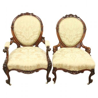 Antique Pair of Mid Victorian Walnut Ladies and Gents Chairs