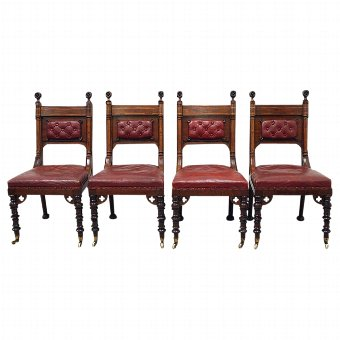 Antique Set of 4 Chairs Attributed to E W Godwin