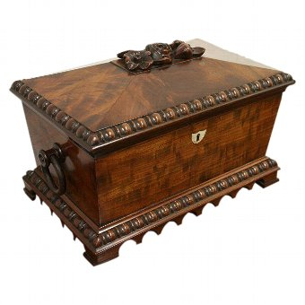 Antique George IV Mahogany Sarcophagus Tea Caddy