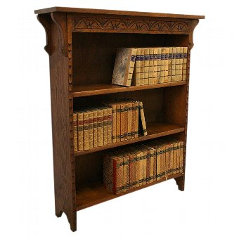 Antique Edwardian Oak Open Bookcase