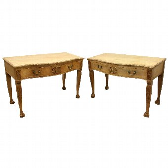 Antique Pair of Georgian Style Serpentine Side Tables