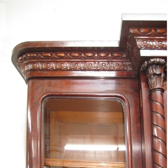 Antique Mid Victorian Profusely Carved Mahogany Bookcase