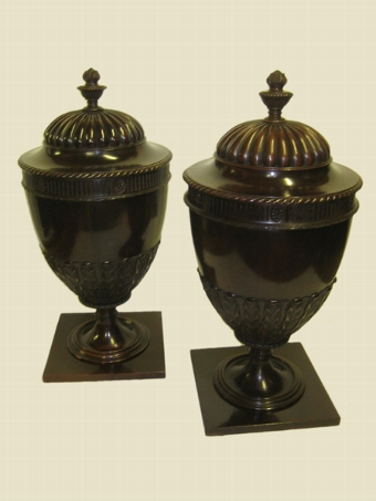 Antique Pair of George III Mahogany Cutlery Urns