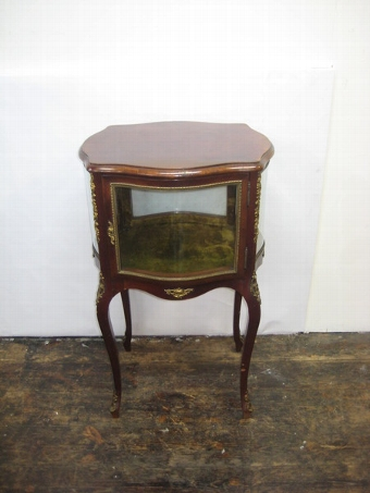 Antique French Mahogany Serpentine Vitrine/Display Cabinet
