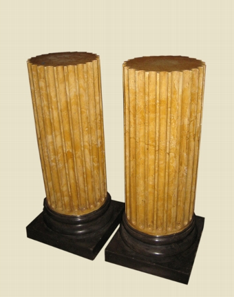 Antique Pair of Fluted Yellow Scagliola Pedestals